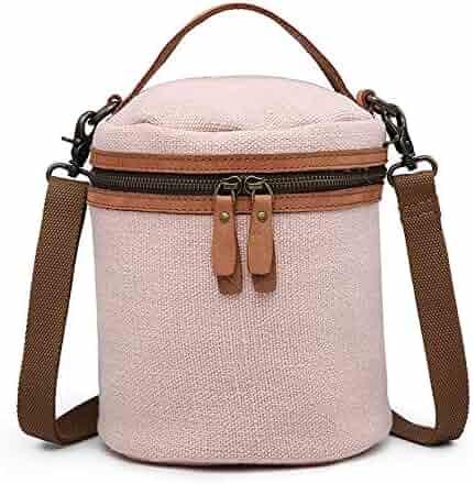 FLYSXP Women s Bucket Canvas Bag Trendy Cotton and Women s Bag Trendy  Shoulder Diagonal Bag 820730ef84a09