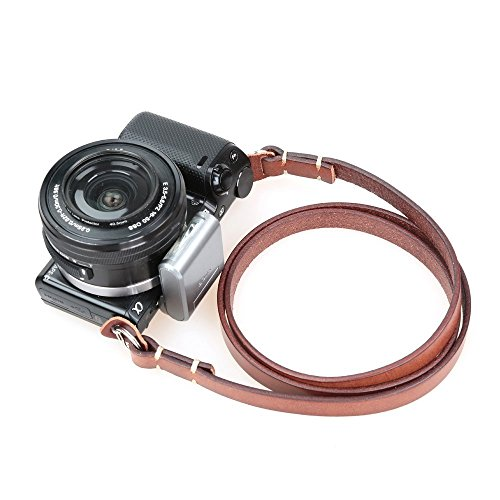 CANPIS Genuine Leather Camera Neck Shoulder Strap for Fuji Sony Olympus Panasonic Lecia Canon Nikon etc DSLR & Mirrorless Cameras (Brown, Retro Style, Slim - Neck Sony Strap Camera