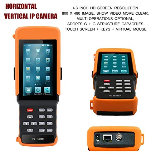 (4.3 Inch Horizontal Vertical IP Camera HD Video Monitor Network Camera Tester(Color:Black & Orange))