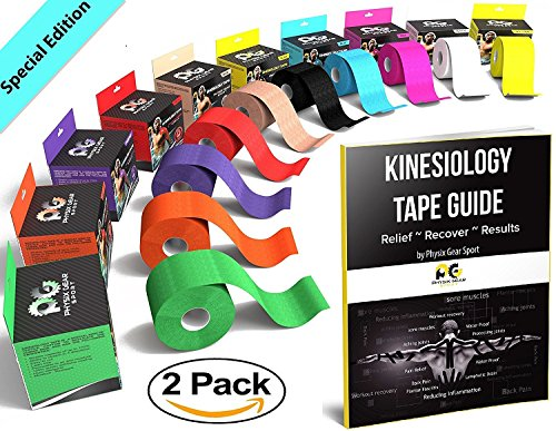 Kinesiology Tape (2 Pack or 1 Pack) by Physix Gear Sport, Best Waterproof Muscle Support Adhesive, 5cm x 5m Roll Uncut, Physio Therapeutic Aid for Injury Recovery, Free 82pg E-Guide -BLUE 2 PACK