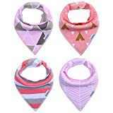 Storeofbaby Baby Girls Bandana Bibs with Snaps, Perfect for Dribble Teething Feeding ( Pack of 4)