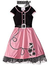 Child's 50's Sweetheart Costume, Pink/Black, Medium