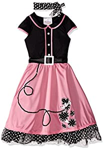 1950s Costumes- Poodle Skirts, Grease, Monroe, Pin Up, I Love Lucy California Costumes Childs 50s Sweetheart Costume Pink/Black Small $23.70 AT vintagedancer.com