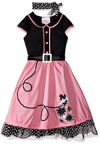 Black Fifties Costumes (California Costumes Child's 50's Sweetheart Costume, Pink/Black, Large)