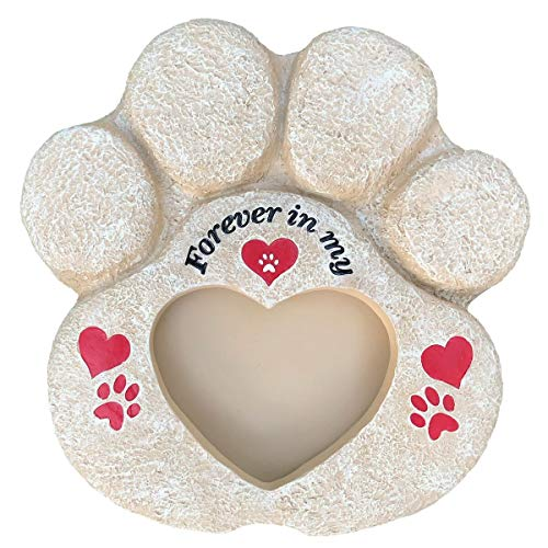 Pet Memorial Stones Pet Memorial Picture Frame - Heart Paw Pet Memorial Stones for Dogs, Cats, Loss of Pet | Waterproof Durable with Large Pet Picture Frame