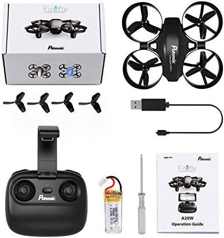 Potensic Drone avec caméra Potensic Mini avion avec télécommande Drone avec Wifi caméra A20W fonction de suspension Altitude caméra, adapté aux débutants, Meilleur cadeau de Noël