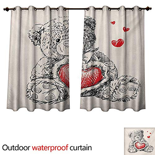 WilliamsDecor Doodle 0utdoor Curtains for Patio Waterproof Detailed Teddy Bear Drawing with Heart Instead of a Belly Mini Floating Hearts W55 x L45(140cm x 115cm)
