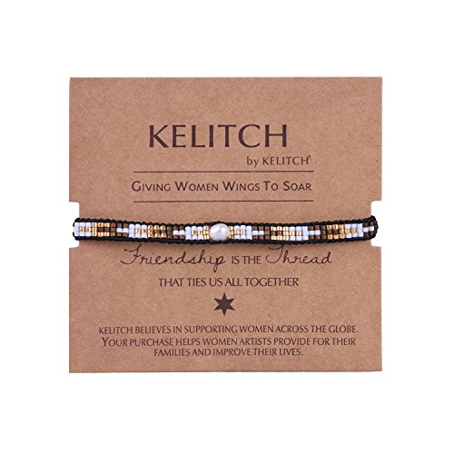 KELITCH Pearl Sead Beaded Wax rope Charm Wrap Bracelets Handmade Friendship New Women Jewelry (Gold)