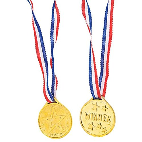 36 Gold Medal Necklaces - Party Game Prizes – Announcement of Winner - #1 Winner – by Kidsco ()