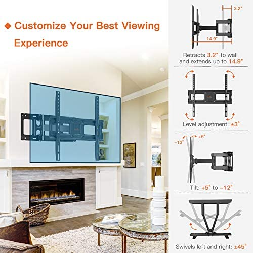Perlegear TV Wall Mount Bracket Full Motion Dual Swivel Articulating Arms Extension Tilt Rotation, Fits Most 26-60 Inch LED, LCD, OLED Flat Curved TVs, Max VESA 400x400mm