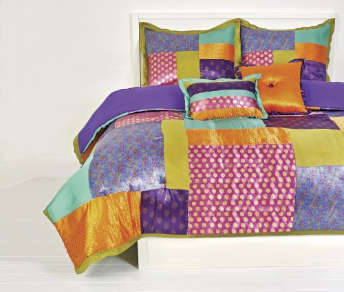 Retreat Satin Comforter Set with Sham, Full/Queen, Multicolo