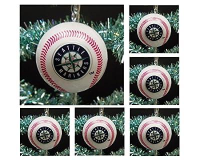 "MLB Major League Baseball Seattle Mariners Set of 6 Holiday Christmas Tree Ornaments Featuring Mariners Team Baseball Ornaments Ranging from 2"" to 2.5"" Tall"