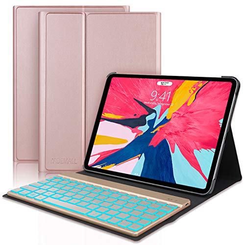 iPad Pro 11 Case with Keyboard 2018 1st Generation, Backlit Keyboards, Wireless Bluetooth Connect, Slim Folio Smart Case, Support Pencil Charging, Auto Wake/Sleep( Rose Gold)