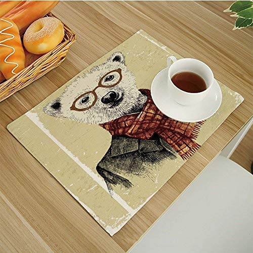 (Set of 6 Non-Slip Insulation Placemats for Dining Table,Kitchen Place Mats Coffee Mats Heat-Resistant Jacquard Table Mats,Animal Hipster Bear with Glasses Scarf Jacket Wild Mammal Humorous Artwork Cre )