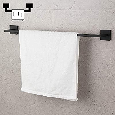 18-Inch Bathroom Towel Bar SUS 304 Stainless Steel Bath Towel Bar Matte Black Modern Square Style Wall Mount