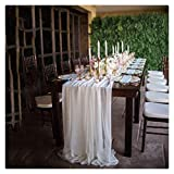 QueenDream 10-Pack White Sheer Chiffon Table Runner 27 x 120 Inches for Wedding Reception Top Table Party Holiday Decoration
