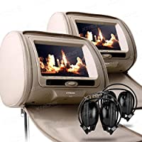 XTRONS Beige 2X Twin Car Headrest dvd player Multi-Media USB SD Slot 7 HD Screen Game Disc IR Headphones