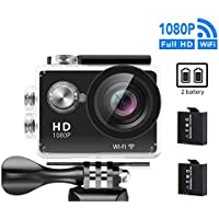 GULEEK Underwater Action Camera 1080P Full HD Wi-Fi Action Cam 12MP Waterproof 30M 155 Degree Wide Angle Lens 2.0 inch LCD Screen Two Rechargeable Batteries With Kit of Accessories DV Camcorder,Black