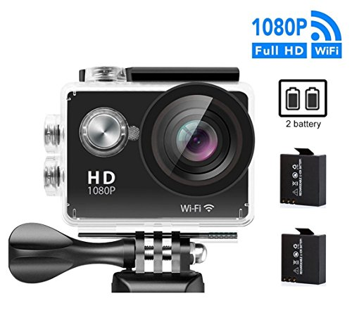 GULEEK Underwater Action Camera 1080P Full HD Wi-Fi Action Cam 12MP Waterproof 30M 155 Degree Wide Angle Lens 2.0 inch LCD Screen Two Rechargeable Batteries With Kit of Accessories DV Camcorder,Black by guleek