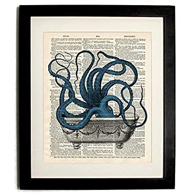 FRAMED octopus in Tub Upcycled Vintage Dictionary Art Print 8 x10  Print with Matted 10 X12  plexiglass front