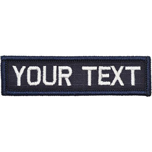 Customizable Text 1x3.75 Patch w/Hook Fastener - Morale Patch (Navy Blue) ()