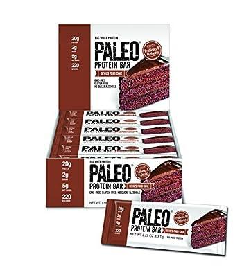 Paleo Protein Bar (Devils Food Cake) 12 Bars (20g Egg White Protein 5 Net Carbs)