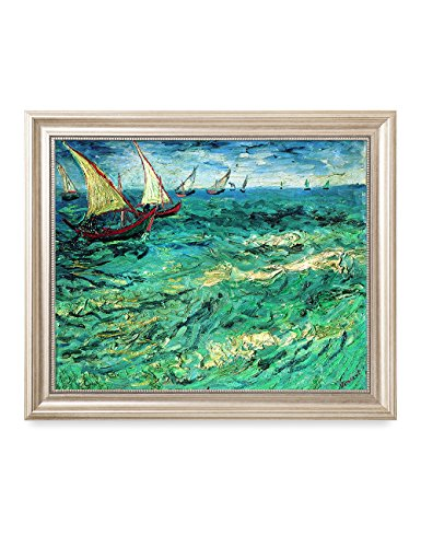DecorArts - Fishing Boats At Sea, Vincent Van Gogh Art Reproduction. Giclee Print& Framed Art for Wall Decor. 20x16