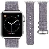 IUNI Canvas Watch Band for Apple Watch 44mm 42mm Replacement Strap Woven Fabric Breathable Wristband Strap Compatible with Apple Watch Series 4/3/2/1 - Grey