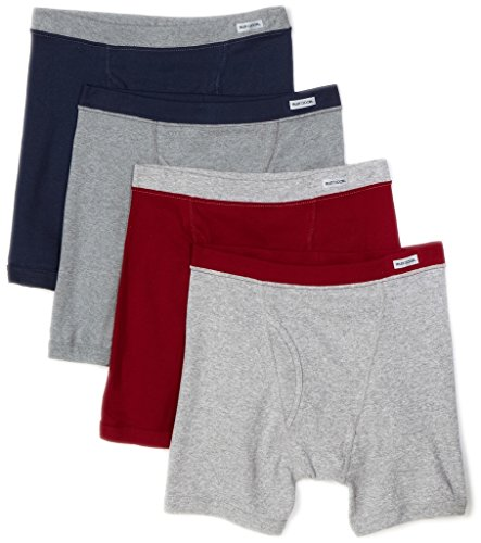 Fruit of the Loom Men's 4-Pack Covered Waistband Premium Boxer Briefs (Medium (Waist 34