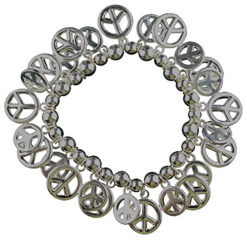 SILVER TONE BEADED STRETCH BRACELET WITH PEACE SIGNS