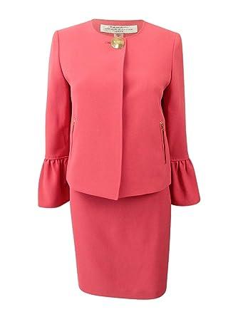 965fa4238fc Tahari by Arthur S. Levine Women s Pebble Crepe Skirt Suit with Ruffle  Sleeve