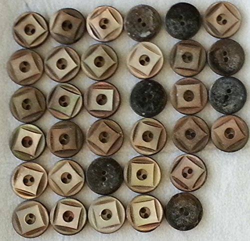 34 Vintage Mother-Of-Pearl Buttons, 1/2