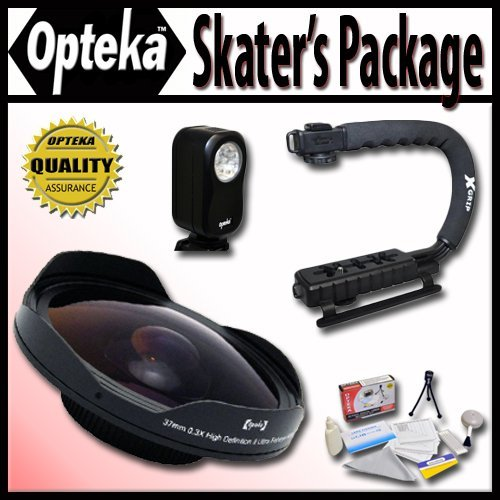 Opteka Deluxe ''Skaters'' Package (Includes the OPT-SC37FE Platinum Series 0.3X HD Ultra Fisheye Lens, X-GRIP Camcorder Handle, & 3 Watt Video Light) for Sony DCM-M1, DCR- DVD100, DVD103, DVD110, DVD115, DVD200, DVD203, DVD300, DVD306, DVD308, DVD310, DVD40 by Opteka