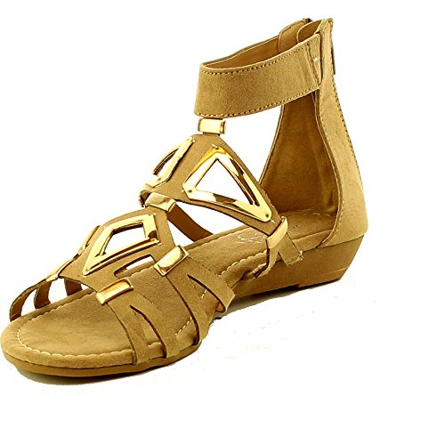 2 Strap Thong - WestCoast Mosso-02 Women's Ankle Strap Thong with Two Adjustable Buckles Accent Summer Gladiator Flat Sandals Taupe 10