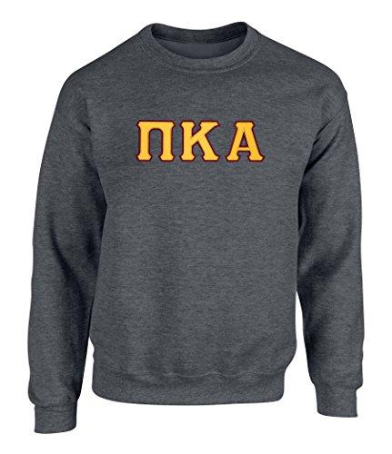 (Pi Kappa Alpha Twill Letter Crewneck Sweatshirt Drk HTHR Gold Maroon Large)