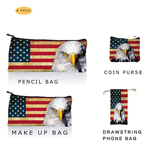 American Retro Bags - 4pack Canvas Bags Retro American Flag With Staring Eagle Attractive Designs, Penceil Bag, Make Up Cosmetic Bag, Coin Purse, Drawstring Phone Bag For All Size, US Flag Design Back To School Student Bag