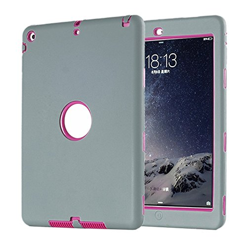 TKOOFN iPad Case [3 in 1] Full Protection Armor Protective Anti-Slip Soft Silicone Hybrid Shockproof Case for iPad Air(Grey+Rose Red)