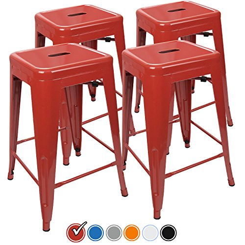 UrbanMod 24 Inch Bar Stools for Kitchen Counter Height, Indoor Outdoor Metal, Set of 4,Red