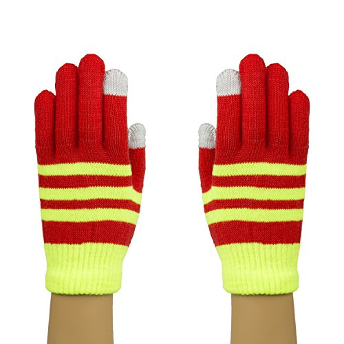 Boys Yellow & Red Striped Touch Screen Gloves, Boys Tech Finger Mittens (Cute 11 Year Old Guys)