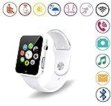 Smart Watch Android,YOKEYS Touch Screen Bluetooth Wristwatch Fitness Watch Camera SIM Card Slot/Analysis/Sleep Monitor, Push Message, Camera Unlocked Watch Men Women Kids Boy Girls(D White)