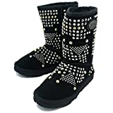 KOS Women's Buster Black Sheepskin Studded Boot 7 M US