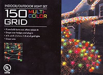 150 Grid Multicolor Christmas Holiday House or Net Lights
