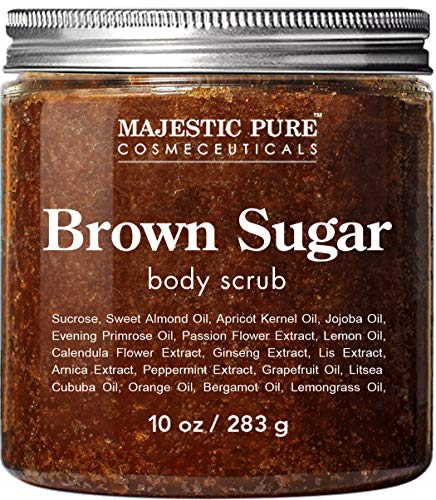 Brown Sugar Body Scrub for Cellulite and Exfoliation - Natural Body Scrub - Reduces The Appearances of Cellulite, Stretch Marks, Acne, and Varicose Veins, 10 Ounces