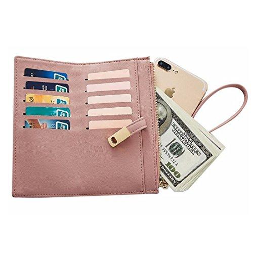 Clutch Cartera Monedero De Hombro Cuero Wallet Zip Pink Wristlet Bolsa color Señoras Around Bifold w8UTnq