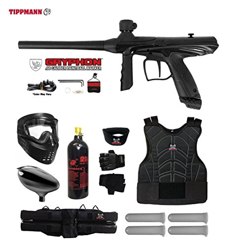 MAddog Tippmann Gryphon Starter Protective CO2 Paintball Gun Package - Onyx (Paintball Starter Package)