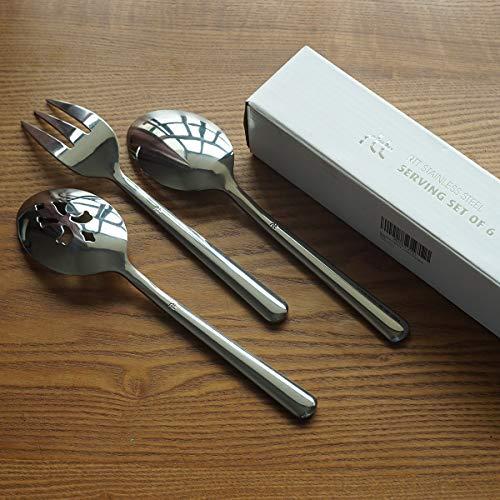 Serving Spoons Set 6 Pack Stainless Steel Includes 3 Serving Spoons and 3 Slotted Serving Spoons Buffet Serving Utensils Dishwasher Safe
