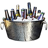 BREKX Anchored Double Walled Hammered Steel Beverage Tub Wine Chiller, Large, Silver