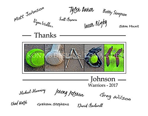 Softball Coach's Gift with player's signatures - Gift for Softball Coach - 11x14 with border for signatures (Coach Gifts Softball)