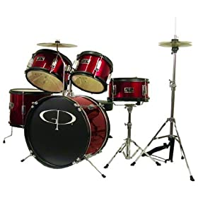 GP Percussion GP55RD 5-Piece Junior Drum Set with Cymbals and Throne in Red 5