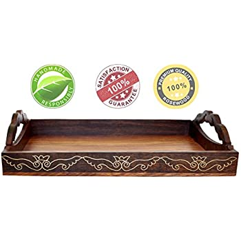 Amazon Com Souvnear 15 Inch Large Wooden Serving Tray